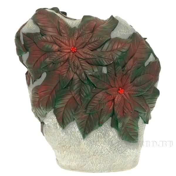 Изделие декоративное садовое Камень с зелеными листьями, L45 W12 H42 см оптом