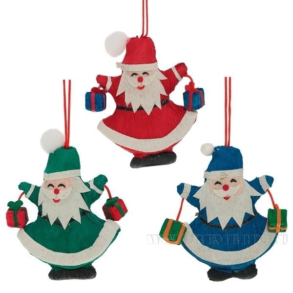 Новогоднее украшение Дед мороз, 3в., L6 W2 H8 см оптом