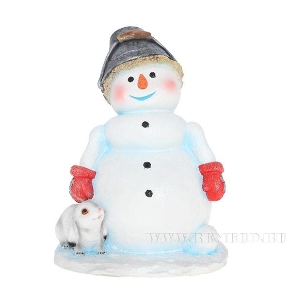 Изделие декоративное Снеговик с ведёрком на голове L30W26H38 см оптом