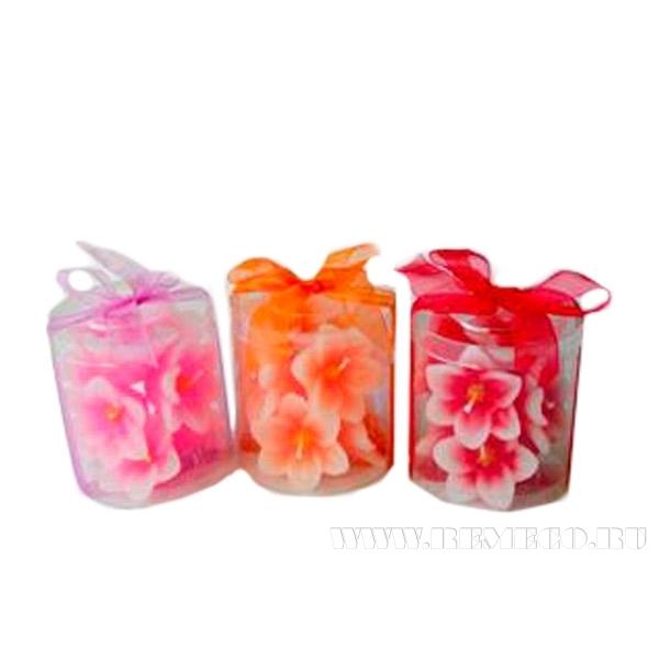 Набор из 8-ми свечей Цветы, 5х2,5 см оптом