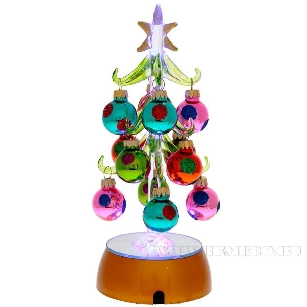 Фигурка декоративная Ёлочка с подсветкой, 9x9x20 см (тип батарейки AAA-3 шт.) оптом
