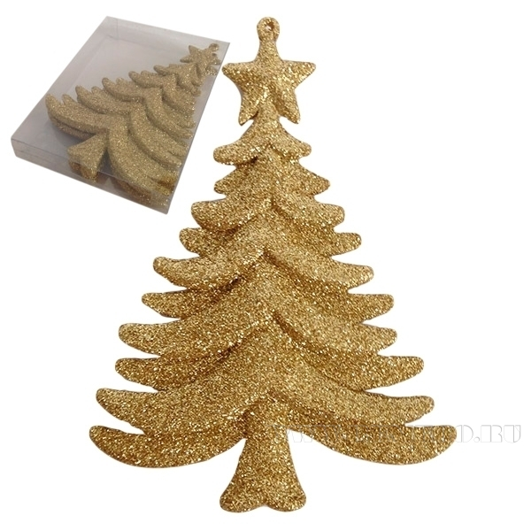 Набор из 4 новогодних украшений Елка, 14 см оптом