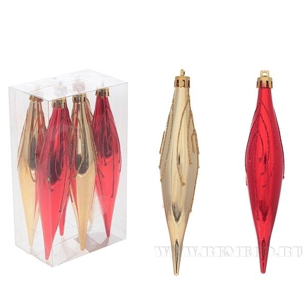 Набор из 6 новогодних украшений Сосулька, 16 см оптом