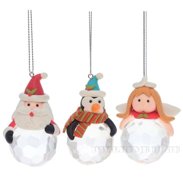 Новогоднее украшение Дед Мороз, Ангел, Пингвин, 6,4 см, 3в. оптом