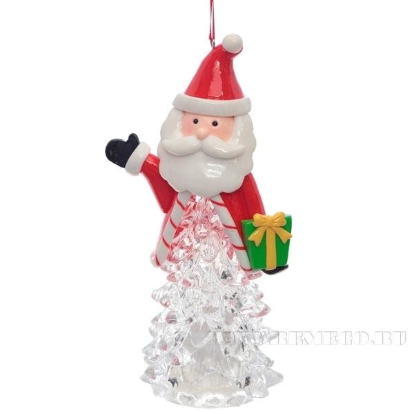 Новогоднее украшение Дед Мороз с подсветкой, Н 7 см (тип батарейки LR44-3 шт.) оптом