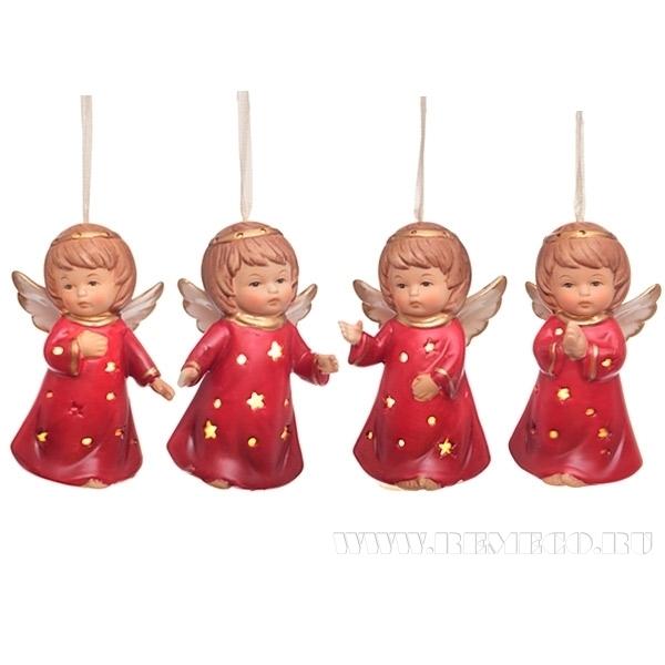Новогоднее украшенее Ангел с подсветкой, 8,8 см, 4 в. оптом