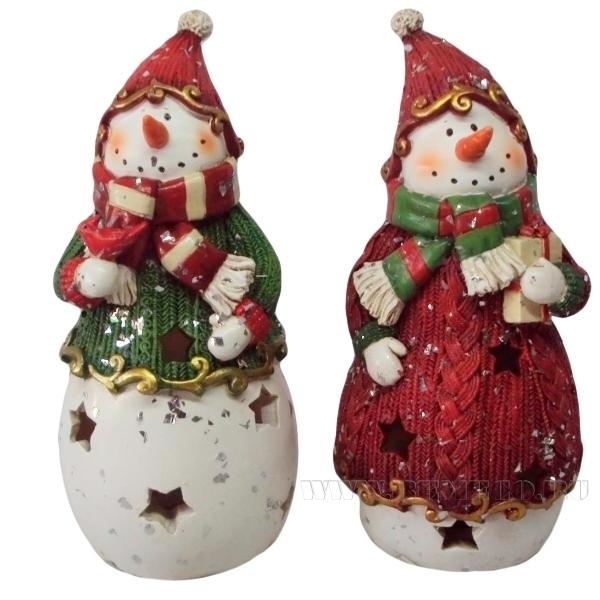 Фигурка декоративная с подсветкой Снеговик, Н 10,5 см, 2 в. (тип батарейки AG13-2 шт.) оптом
