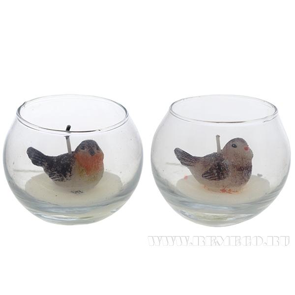 Подсвечник со свечой Птичка, 2 в., L6,5 W6,5 см оптом