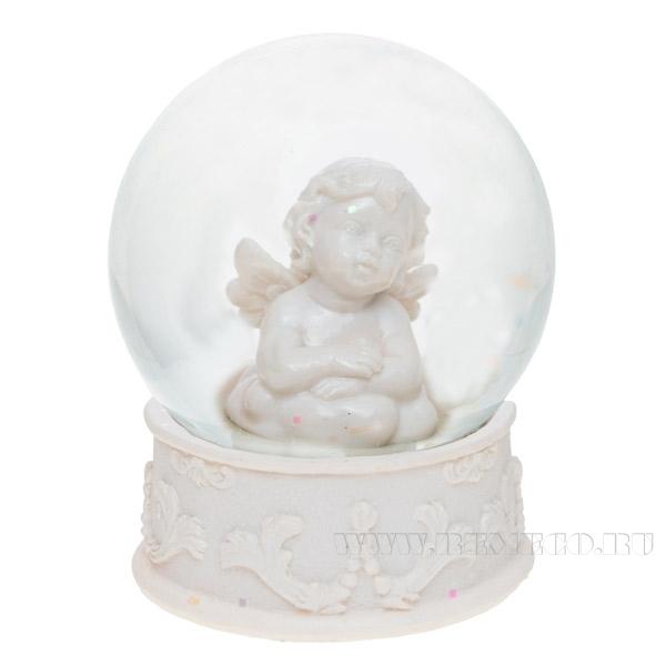 Фигурка декоративная в стеклянном шаре Ангел, L 6,5W 6,5H 8 см оптом