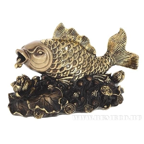 Фигурка декоративная Золотая рыбка (сусальное золото), L20W9H12 см оптом