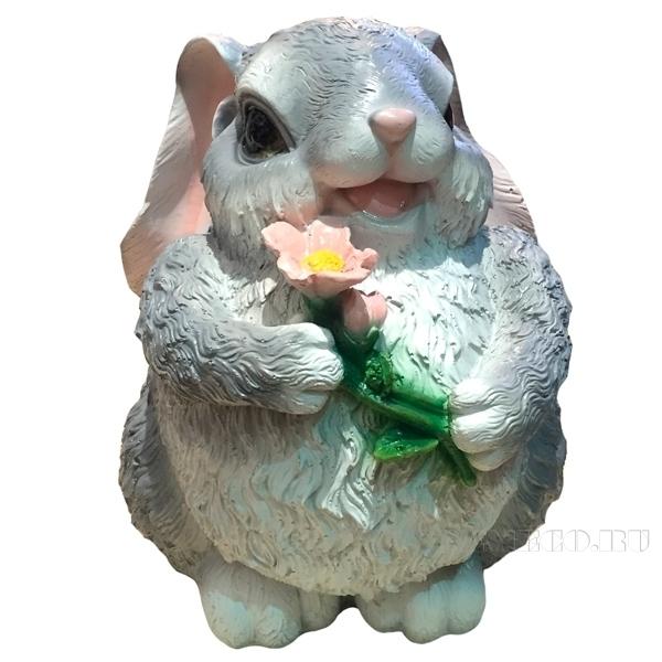 Фигура садовая декоративная Зайка с цветком большой оптом