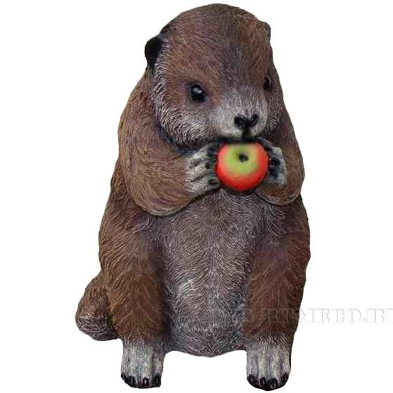Фигура декоративная садовая Бобер с яблоками L17W22H28 см оптом