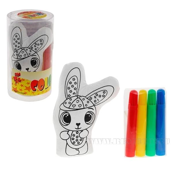 Набор для раскрашивания (Кролик, 4 фломастера), 13см оптом