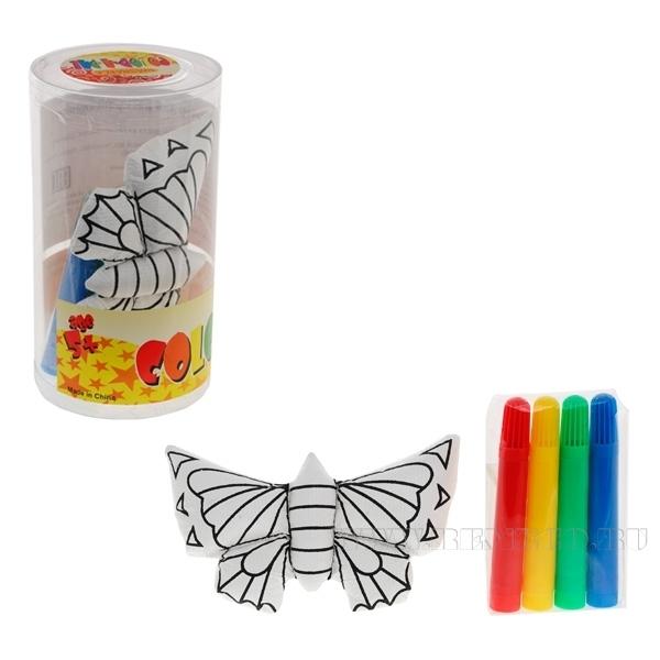 Набор для раскрашивания (Бабочка, 4 фломастера), 13см оптом
