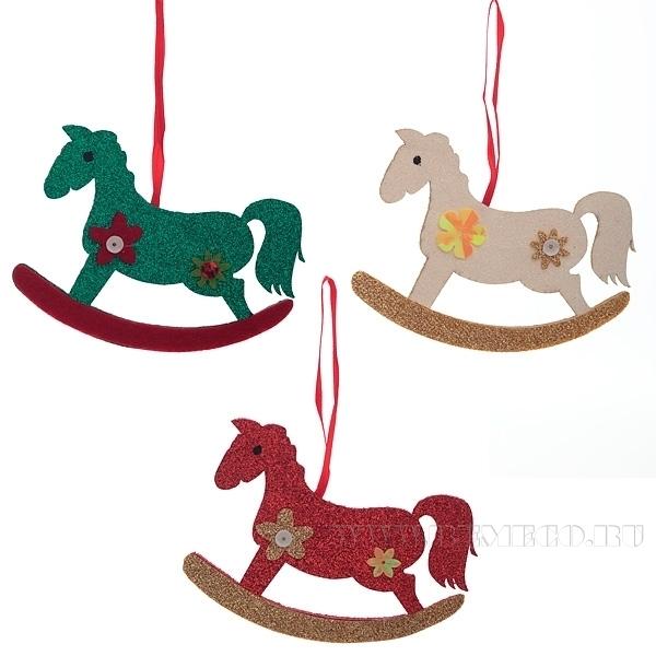 Новогоднее украшение Лошадь, 11 см оптом