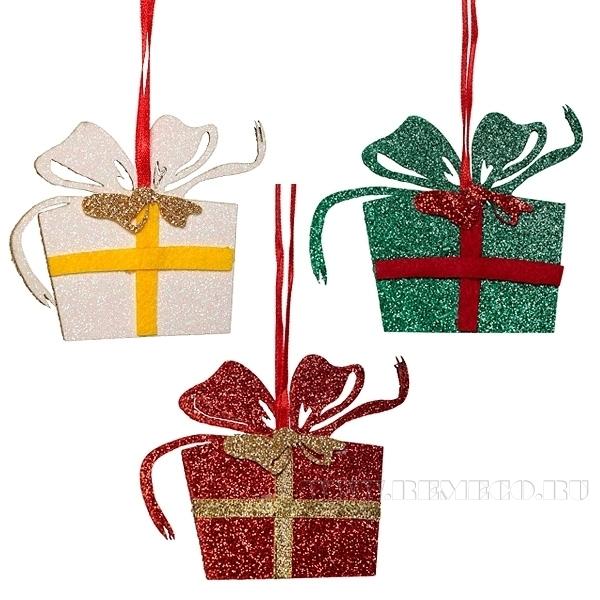 Новогоднее украшение Подарок, 7 см оптом