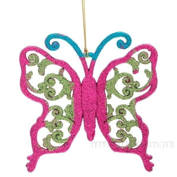 Новогоднее украшение Бабочка, 9,5 см оптом