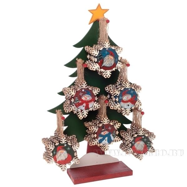 Новогоднее украшение снежинка Снеговик, Санта (без елки) оптом