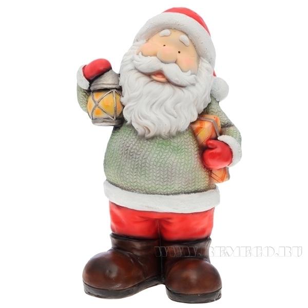 Фигура декоративная Дед Мороз с фонарем L26W18H47 см оптом
