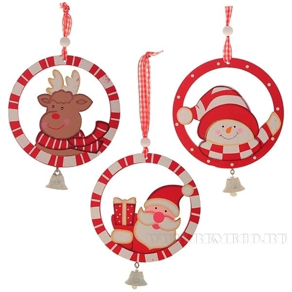 Новогоднее украшение Санта, снеговик, олень, Н 10 см, 3 в. оптом