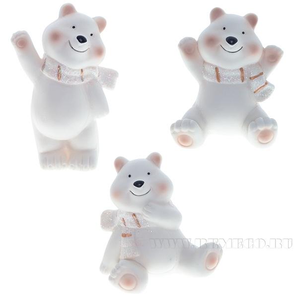 Фигурка декоративная Медведь, 8,5х6,5х13 см, 3 в. оптом