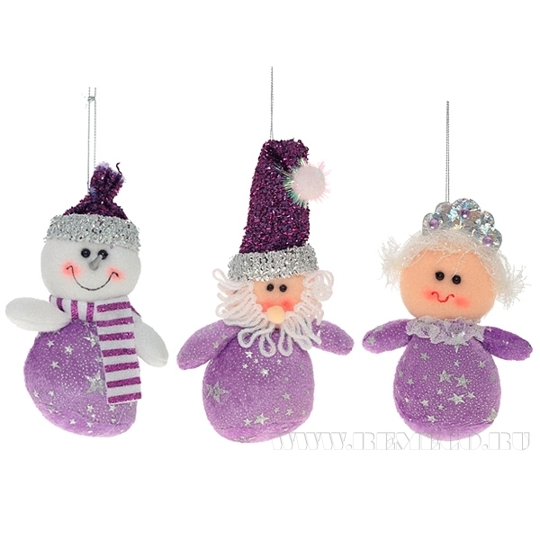 Игрушка мягконабивная Мишка, Санта, Снеговик, 3 в., Н 16 см оптом