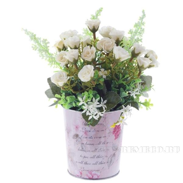 Искусственный цветок в кашпо Роза, L15 W15 H23 см оптом