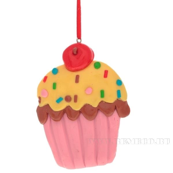 Новогоднее украшение Пирожное, Н 7 см оптом