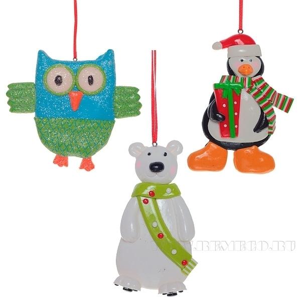 Новогоднее украшение Сова, Пингвин, Медведь, Н 9 см, 3 в. оптом