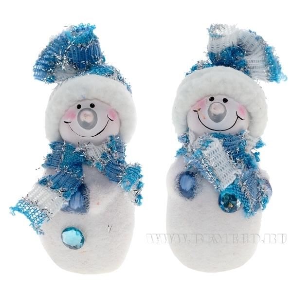 Фигурка декоративная Снеговик, Н 9 см, 2 в. оптом