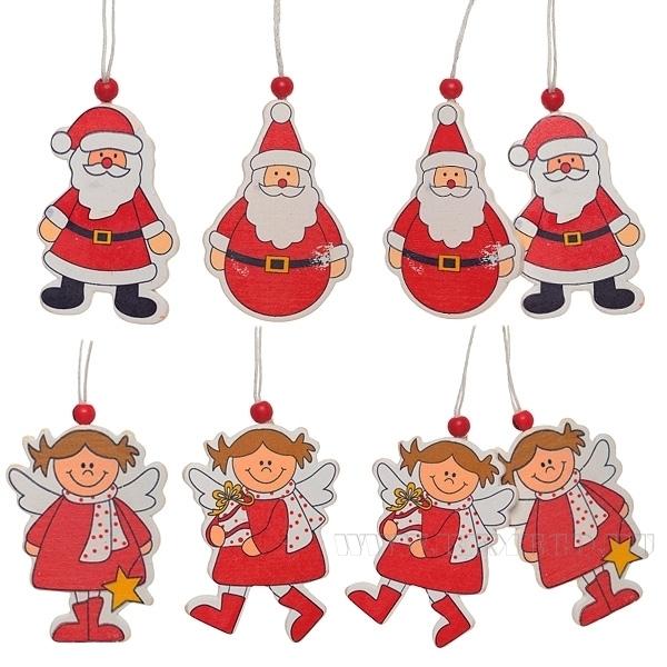 Набор из 2-х новогодних украшений Санта, Снеговик, 5х7 см оптом