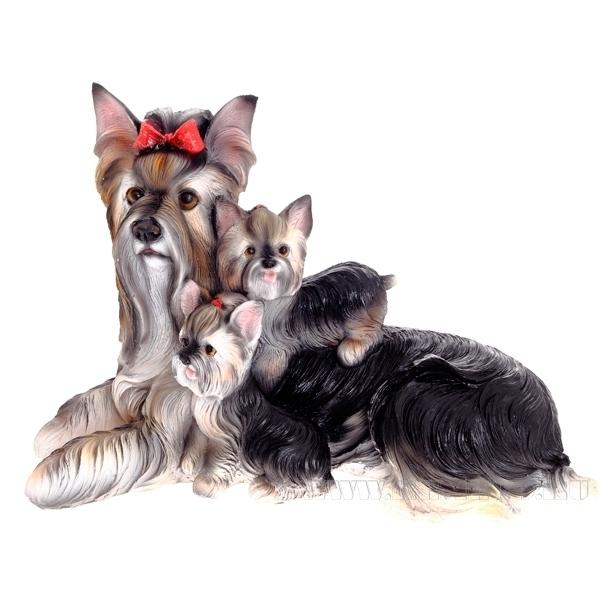 Фигура декоративная садовая Йоркширский терьер со щенками L32 W15 H20 см оптом