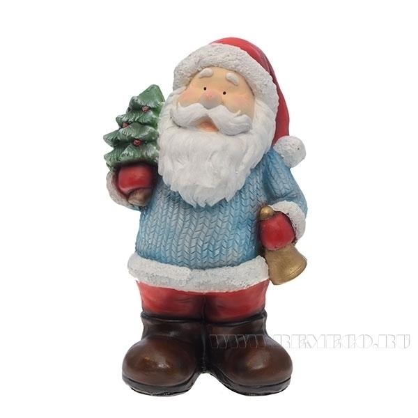Фигура декоративная Дед Мороз с ёлкой L20W17H37 см оптом