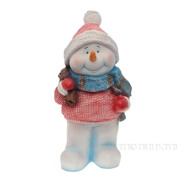 Фигура декоративная Снеговик с мешком L21W16H41.5 см оптом