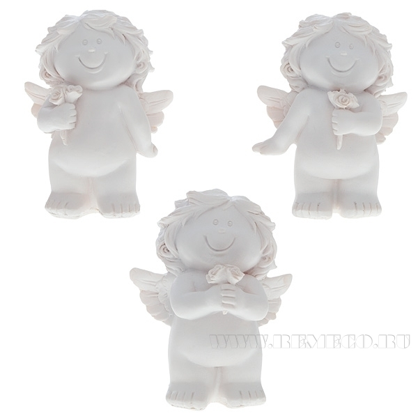 Фигурка декоративная Ангелочек на счастье, L7,5 W5,5 H9,5 см 3 в. оптом