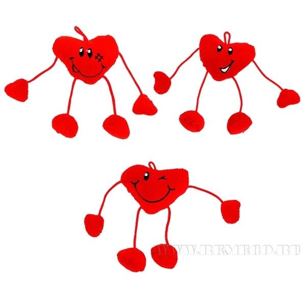 Декоративное украшение Сердце, Н 7 см, 3 в. оптом