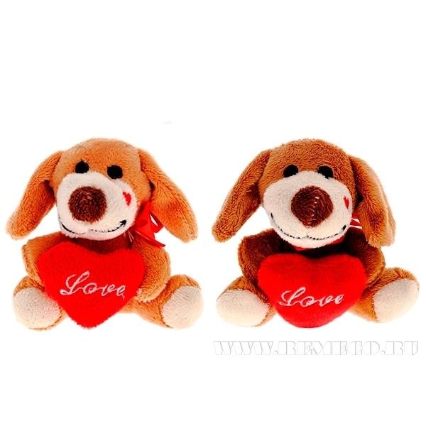 Игрушка мягконабивная Собачка с сердцем, Н 10 см, 2 в. оптом