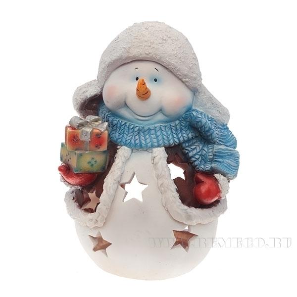 Фигура декоративная садовая Снеговик с подарками , L31 W21 H41 см оптом