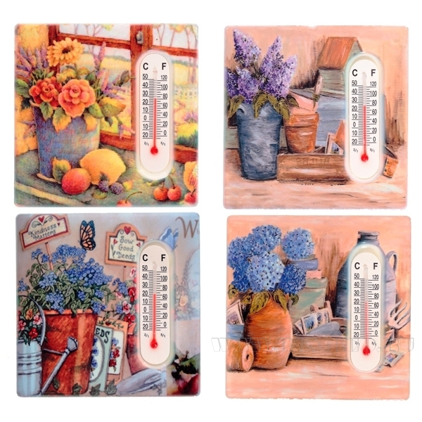 Декоративное изделие Магнит с термометром Цветы, 7,5х7,5 см оптом
