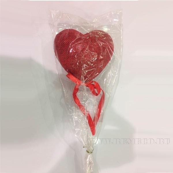 Декоративное изделие, Сердце на палочке, 8 см оптом