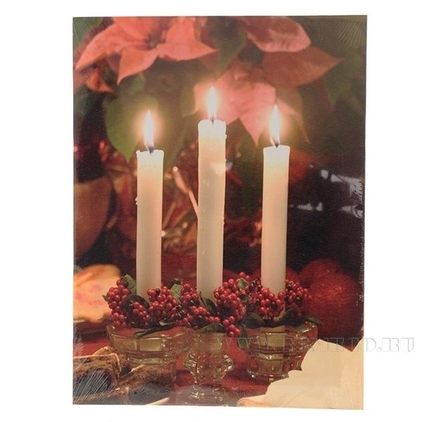 Панно Рождественский вечер с 3 светодиодами, L40 W1,8 H30 см (тип бат. АА-2 шт., не прилаг.) оптом