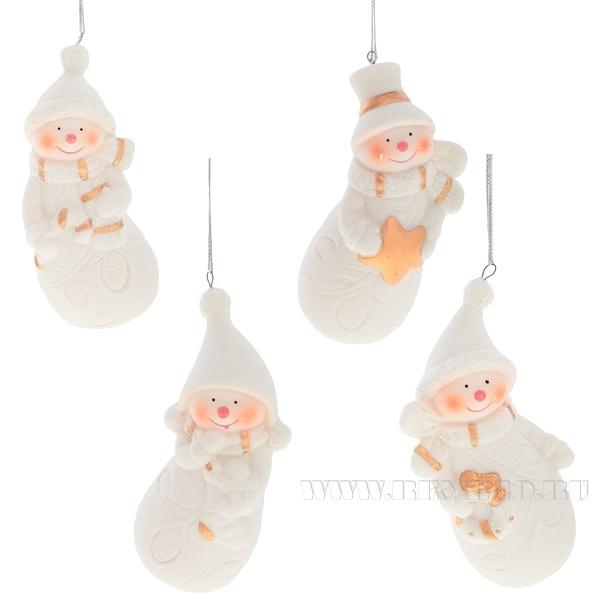 Новогоднее украшение Снеговик, 5х3,8х9,7 см, 4 в. оптом