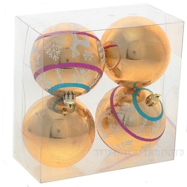 Набор из 4-х новогодних шаров, D 6 см оптом