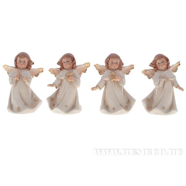 Фигурка декоративная Ангел, L7,1 W5,8 H10,5 см, 4 в. оптом