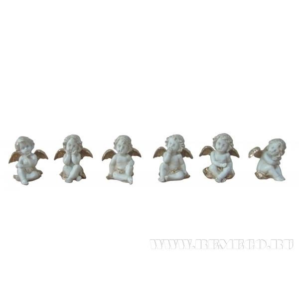 Фигурка декоративная Ангел, h 9 см, 6 в. оптом