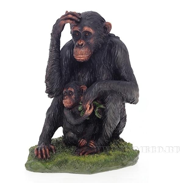 Фигурка  декоративная Обезьяна с детенышем, L14 W15 H17 см оптом