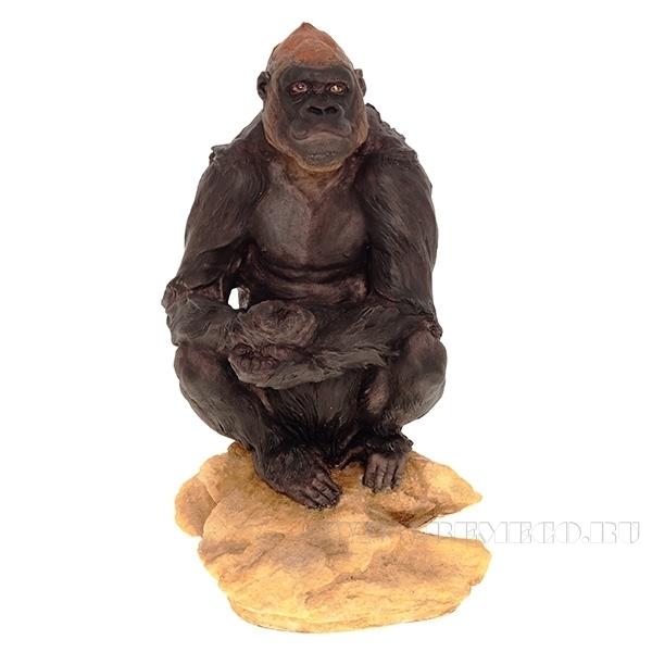 Фигурка декоративная Орангутан на камне, L18 W14 H32 см оптом