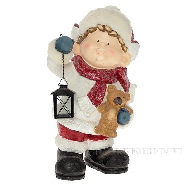 Фигура декоративная Мальчик с фонарем, L30 W22 H51 см оптом