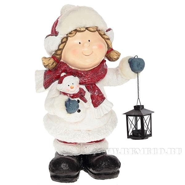 Фигура декоративная Девочка с фонарем , L29 W26 H52 см оптом
