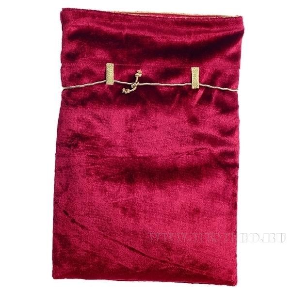 Мешок из бархата с атласной отделкой 35*24см (красный) оптом